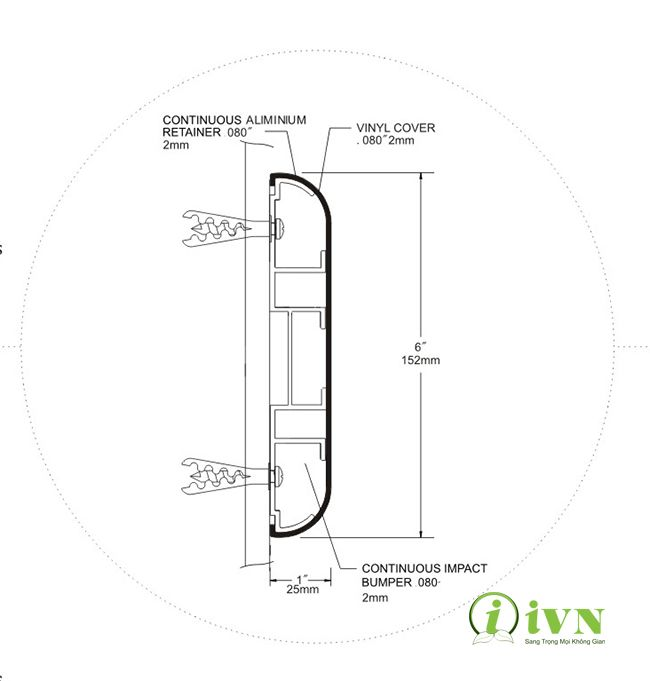 Bản thiết kế chi tiết của thanh chống va đập hành lang bệnh viện series WG152