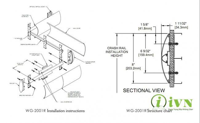 Bản thiết kế chi tiết của thanh chống va đập hành lang bệnh viện series WG2001R