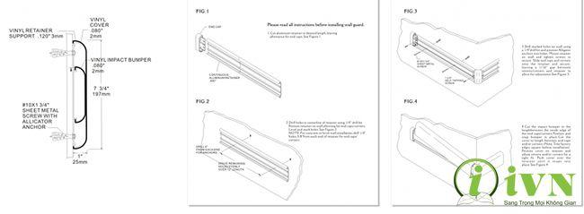 Bản thiết kế của thanh chống va đập hành lang bệnh viện series WG200