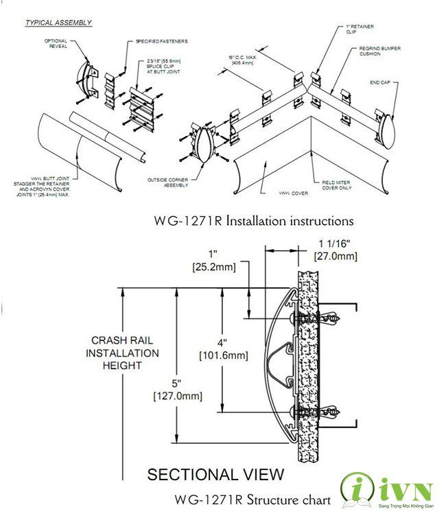 Bản thiết kế thanh chống va đập hành lang series WG127 Loại 2