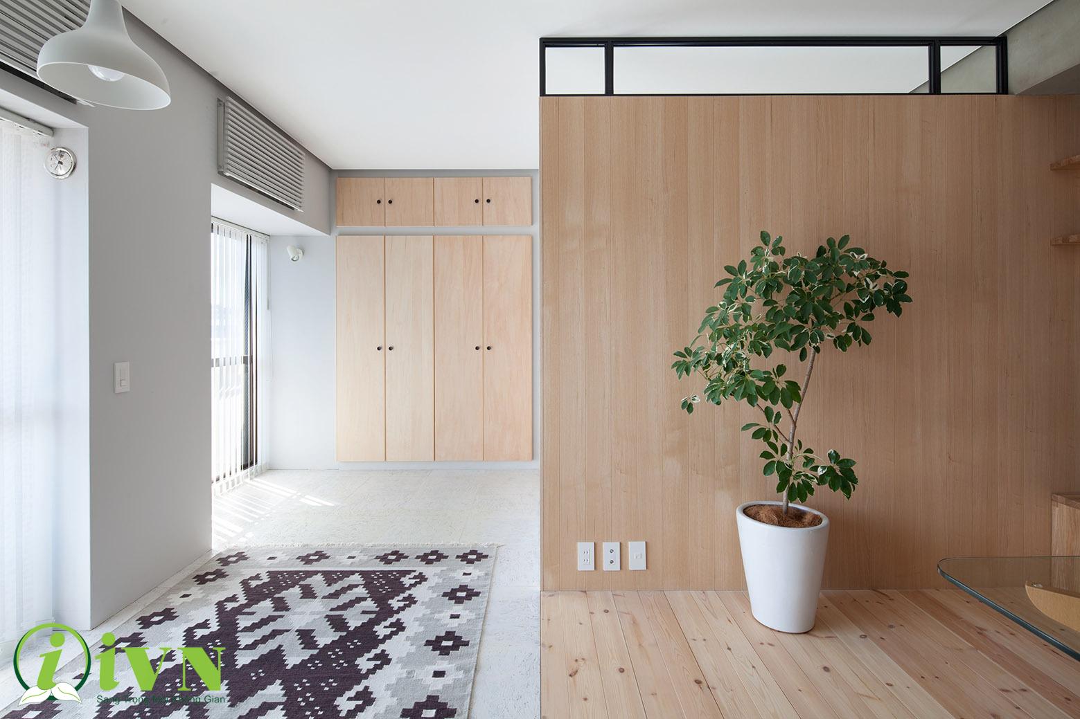 Vách ngăn gỗ Veneer cho không gian thêm sang trọng