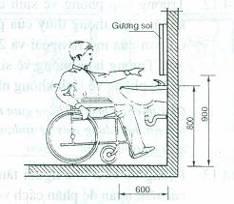 Lắp đặt chậu rửa phù hợp với tầm với của người khuyết tật