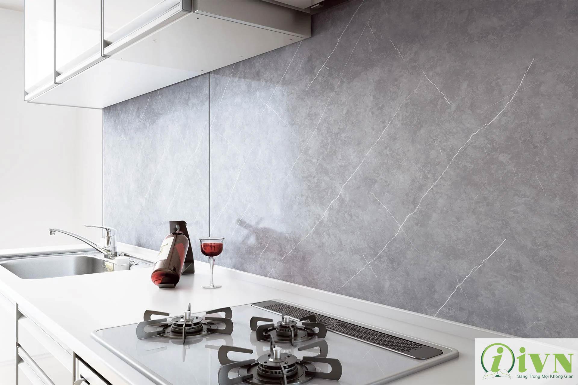 Tấm ốp tường giả đá cho không gian phòng bếp